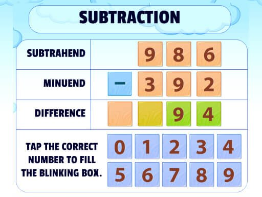 Play Subtraction Practice Game
