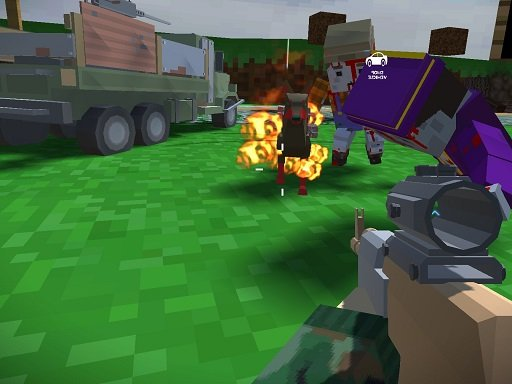 Play Blocky Zombie And Vehicle Shooting Game