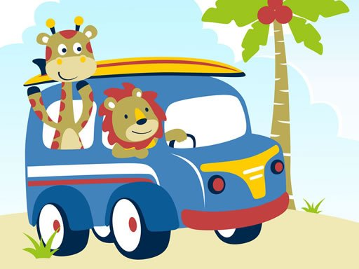 Play Cute Animals With Cars Difference Game